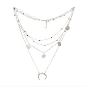 🆕 3/$25 SILVER MULTI LAYER MOON NECKLACE